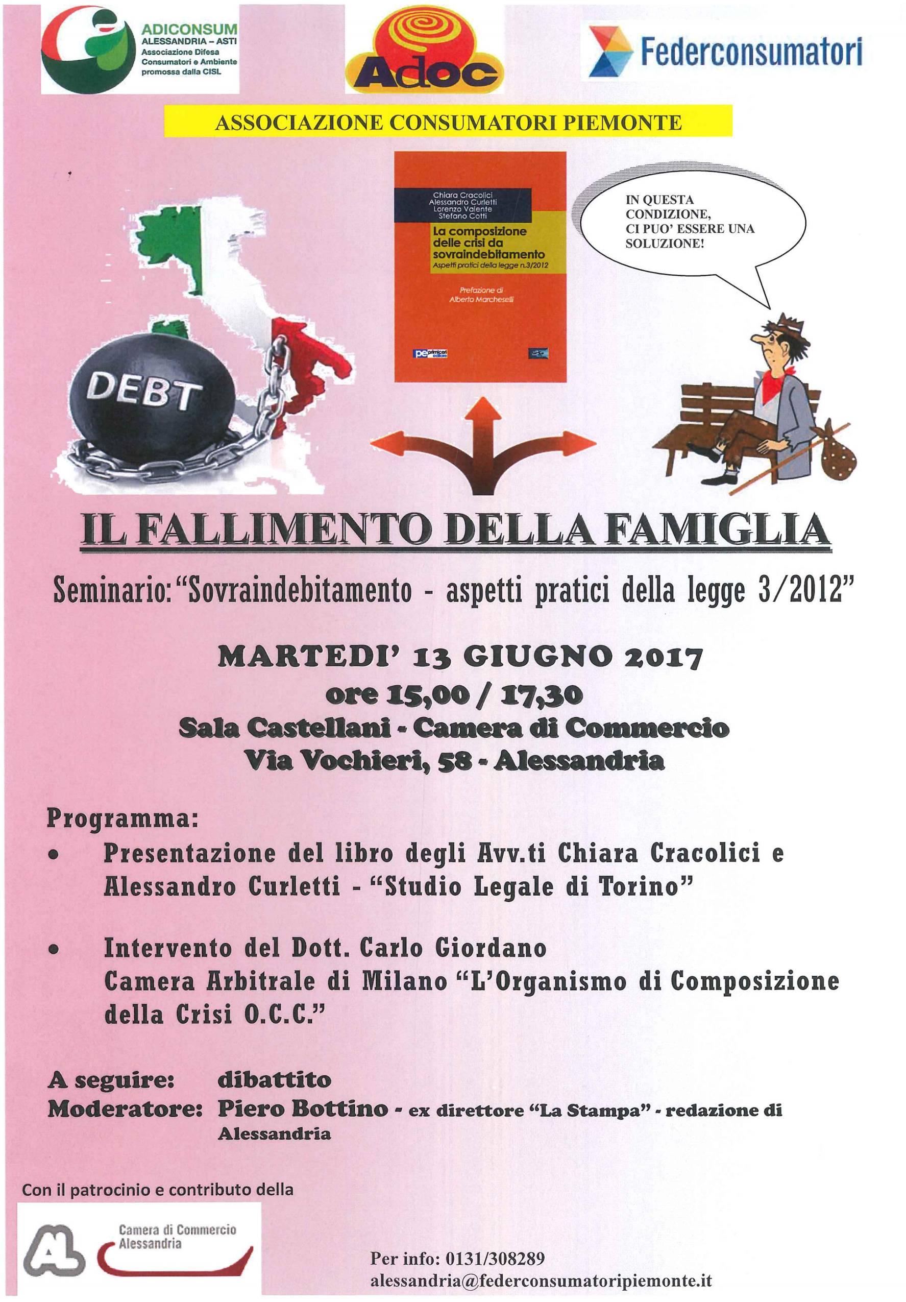 seminario indebitamento Adiconsum Alessandria Piemonte