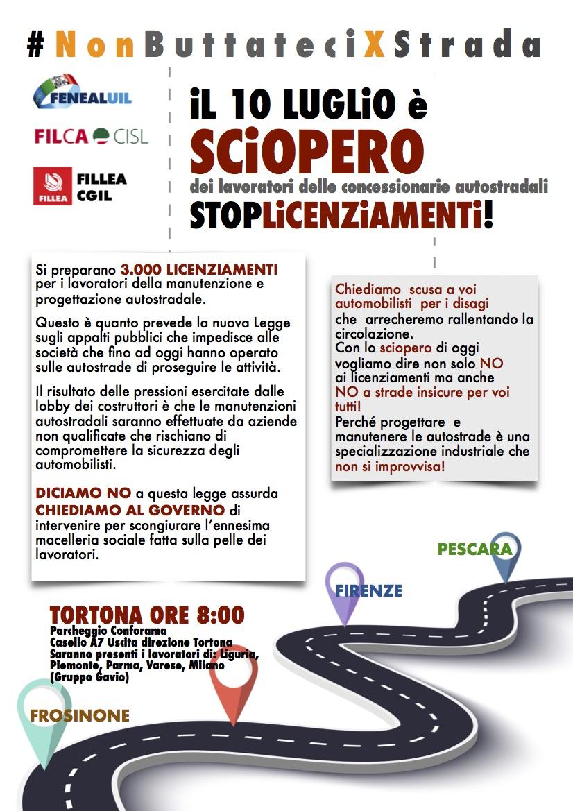 Sciopero Concessionarie autostradali Tortona