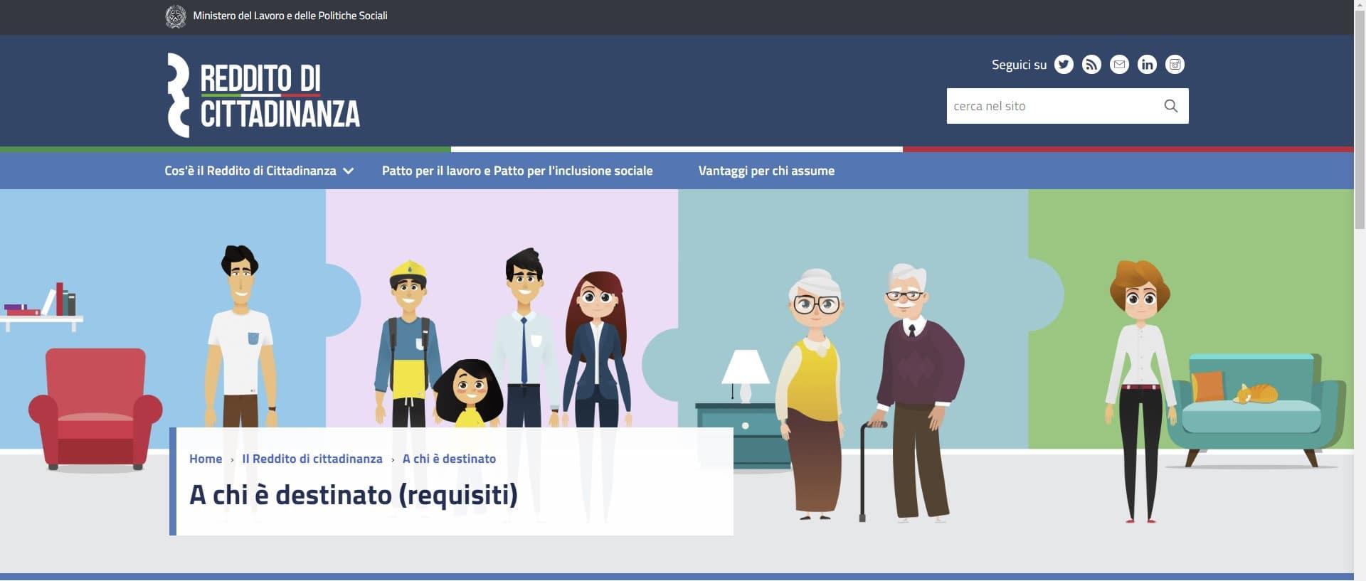 reddito cittadinanza sito