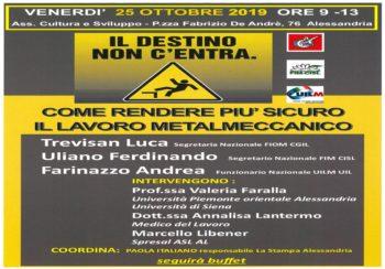 """""""Il destino non c'entra…"""": il 25 ottobre riflettori puntati sulla sicurezza dei metalmeccanici"""
