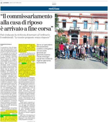 Alessandro Delfino (Funzione Pubblica CISL) interviene sul commissariamento della casa di riposo di Asti