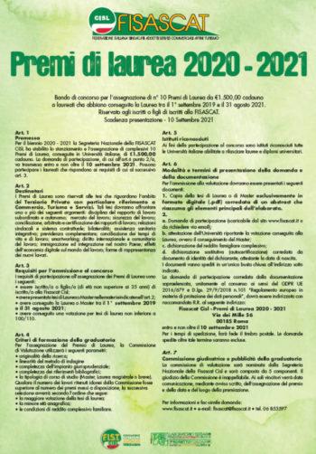 Premio di laurea Fisascat 2020/2021