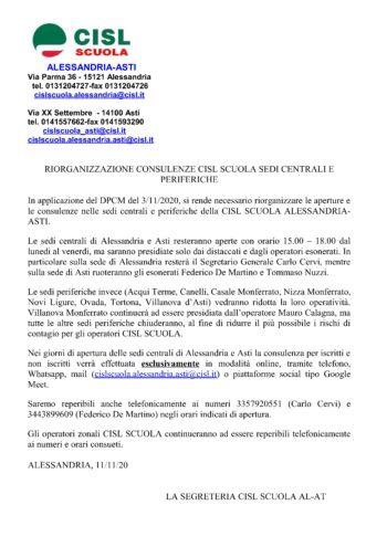 Riorganizzazione consulenze CISL Scuola Sedi Centrali e Periferiche