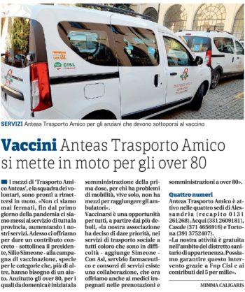 Vaccini Anteas Trasporto Amico si mette in moto per gli over 80