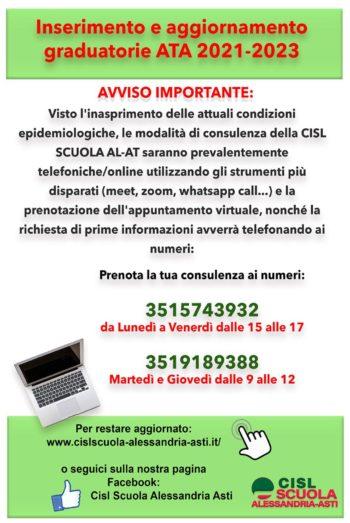 Numeri verdi per la prenotazione delle consulenze a distanza per la 3^ Fascia del personale ATA della Scuola