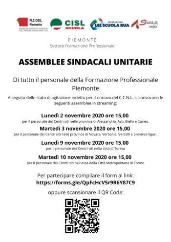 Lunedì 2 novembre 2020 ore 15,00 ad Alessandria ed Asti: ASSEMBLEE SINDACALI UNITARIE di tutto il personale della Formazione Professionale Piemonte