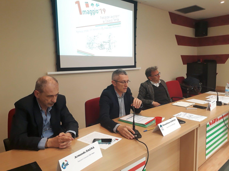 Conferenza stampa dei segretari generali Cgil - Cisl - Uil in merito alla manifestazione del I maggio