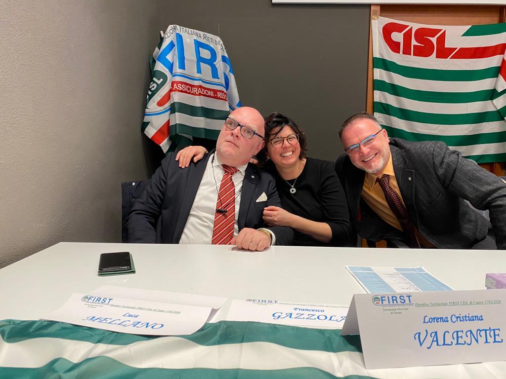 Il neo segretario generale della first di Cuneo, Luca Mellano, con i componenti di segreteria Lorena Valente e Luigi Bonansea