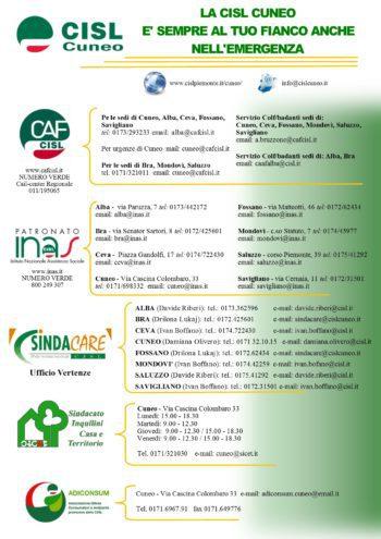 Covid-19: i servizi della Cisl di Cuneo a disposizione dei cittadini in questa emergenza