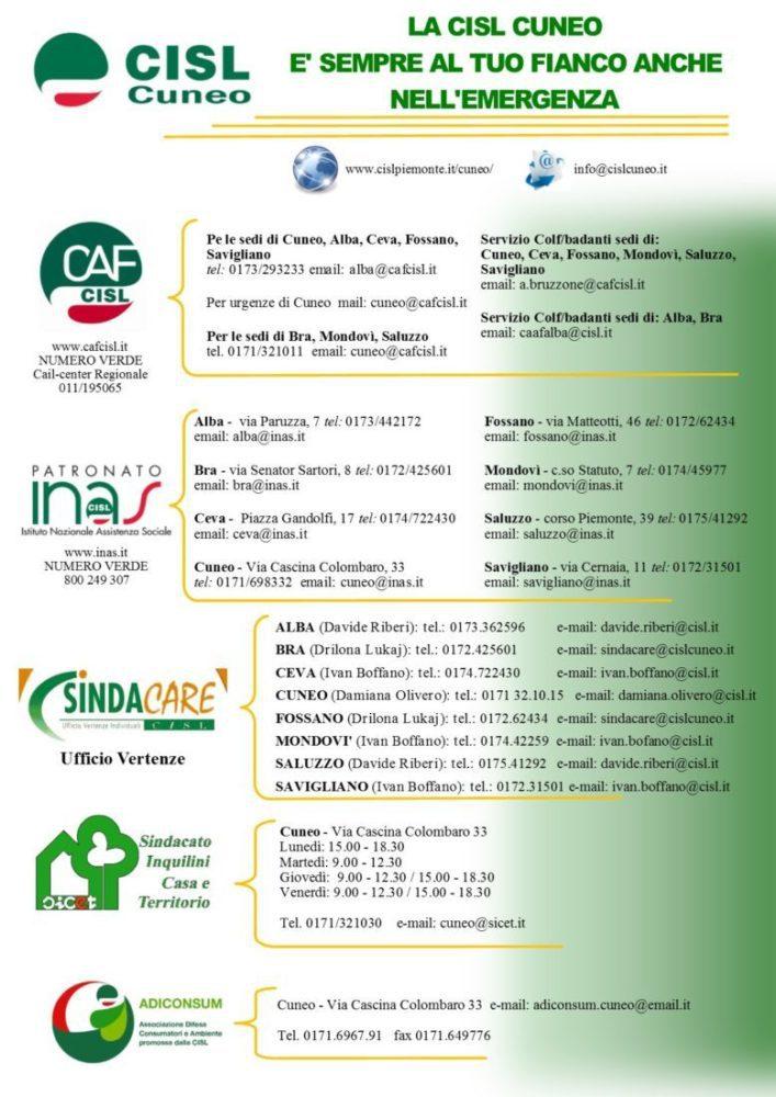 Covid-19 i servizi della Cisl di Cuneo per l'emergenza