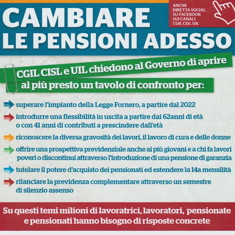 Locandina sulle modifiche delle pensioni richieste dal sindacato