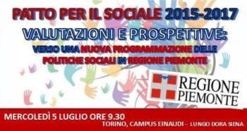 Regione Piemonte: patto per il Sociale 2015-2017, valutazione dei risultati