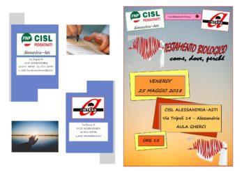 Testamento biologico: come, dove, perchè…: ne parla l'iniziativa promossa da Fnp Alessandria-Asti, Coordinamento Donne ed Anteas
