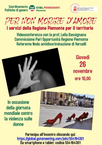 """""""Per non morire d'amore"""": videoconferenza del Coordinamento Politiche di Genere Fnp Piemonte"""