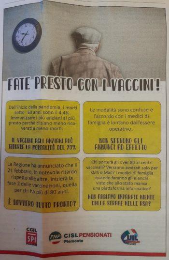 L'inserzione Fnp-Spi-Uilp Piemonte sul quotidiano La Stampa: Fate presto con i vaccini!