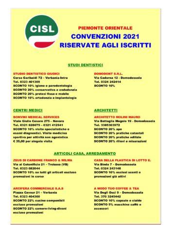 Convenzioni per gli iscritti alla Cisl del Piemonte Orientale per l'anno 2021