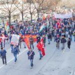 La manifestazione a Pinerolo vista