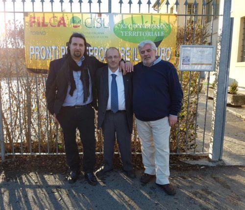 La nuova segreteria Filca (da sinistra: Mario De Lellis, Gerri Castelli - segretario generale - e Angelo Pellettieri) primo piano