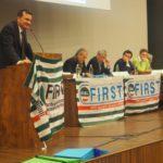 Intervento del segretario generale First Giulio Romani primo piano