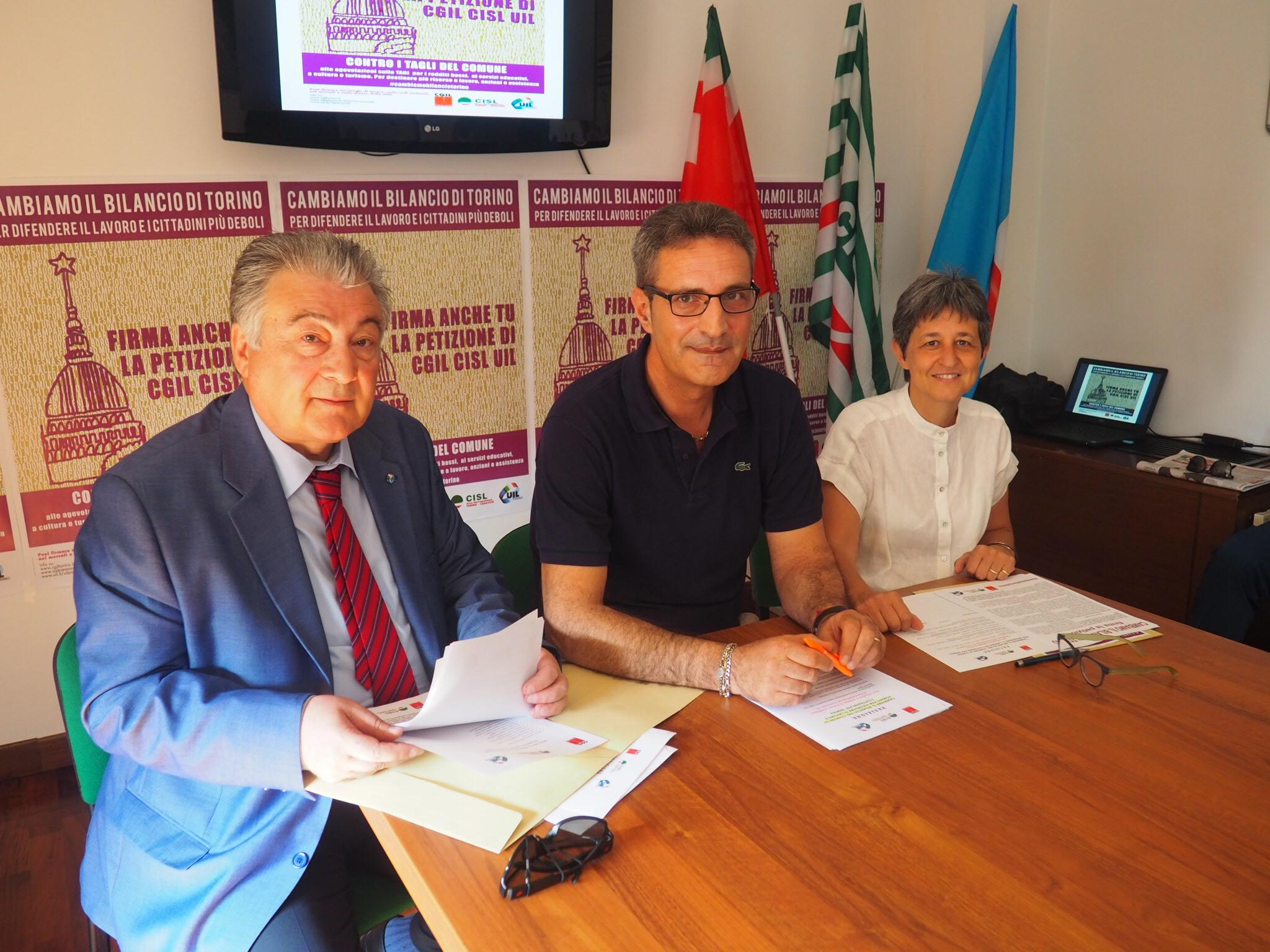 I tre segretari di Cgil Cisl Uil Valfrè, Lo Bianco e Cortese primo piano