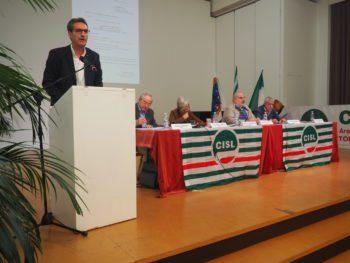 Lo Bianco Cisl Torino Consiglio generale con Furlan primo piano