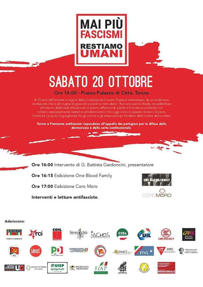Locandina NO AL FASCISMO - sabato 20 ottobre 2018