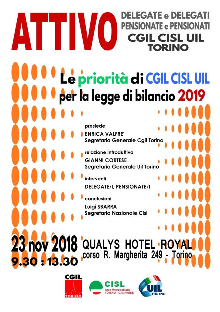 Locandina CGIL CISL UIL Attivo unitario - 23 novembre 2018