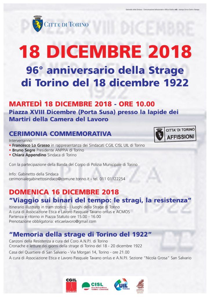 96° anniversario Strage di Torino - locandina iniziativa