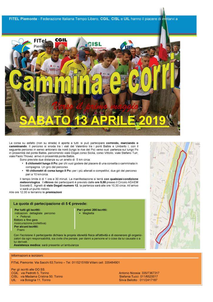 Locandina Cammina e Corri 2019 - 13 aprile 2019