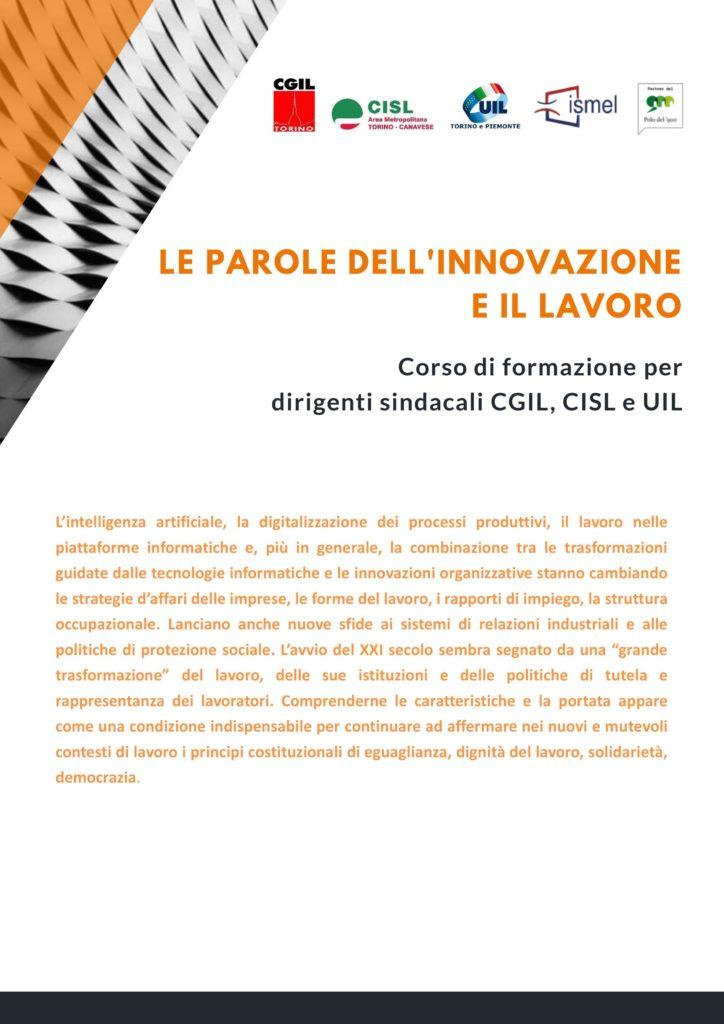 Corso di formazione Cgil Cisl Uil - locandina
