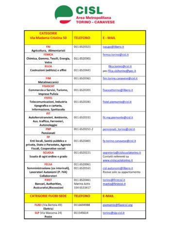 Aggiornamento servizi e categorie Cisl pag.2