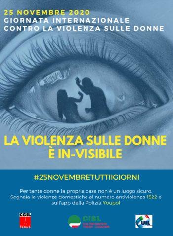 Le iniziative di Cgil Cisl UIl Torino per il 25 novembre – Giornata internazionale contro la violenza sulle donne
