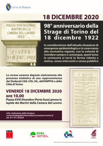 Strage di Torino: venerdì 18 dicembre il 98esimo anniversario dei Martiri della Camera del Lavoro