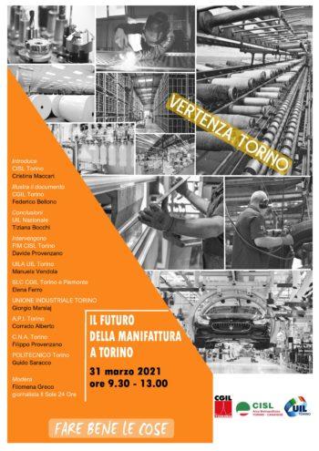 Il futuro della manifattura a Torino: il 31 marzo confronto tra Sindacati, Associazioni datoriali e Politecnico