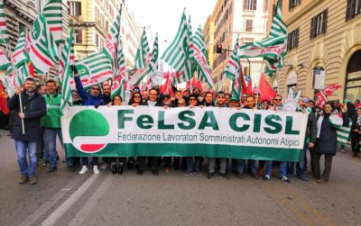 sindacato Cisl somministrati in piazza