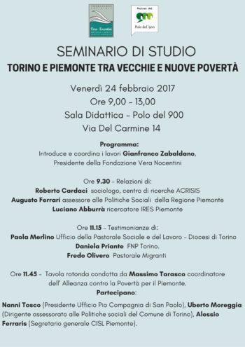 """Seminario di Studio: Torino e Piemonte tra vecchie e nuove povertàƒ""""€€‰ con Ferraris"""