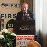 Il segretario generale First Sandro Testa mentre legge la relazione primo piano