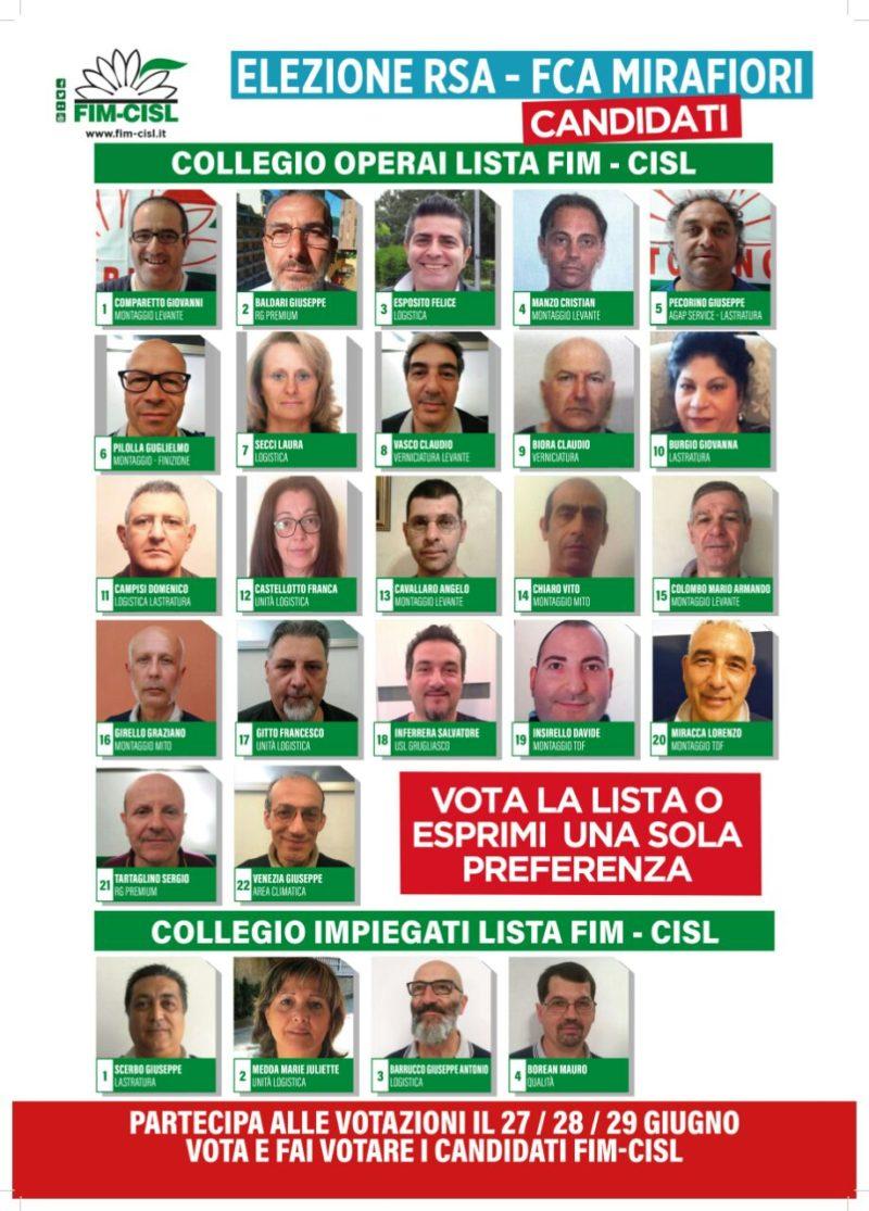 La lista Fim alle elezioni rsa Mirafiori primo piano