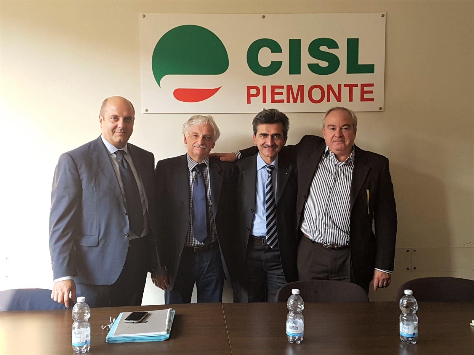 Caf Cisl: da sinistra Battista, Marchina, Didier e Ferraris primo piano