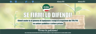 Raccolta firme della Cisl Fp per equiparare i tempi di erogazione del Tfr tra lavoratori pubblici e privati