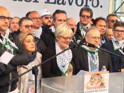 Il comizio della segretaria generale Cisl, Annamaria Furlan, al Primo Maggio 2018 di Prato