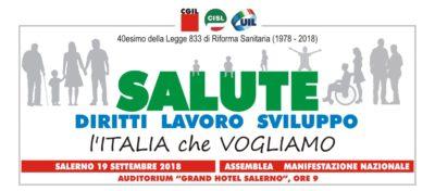 40 anni di Sistema sanitario nazionale: Camusso, Furlan, Barbagallo e Ministro Grillo il 19 settembre a Salerno per assemblea nazionale di Cgil Cisl Uil