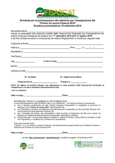 Domanda partecipazione_premio_di_laurea_fisascat_2019