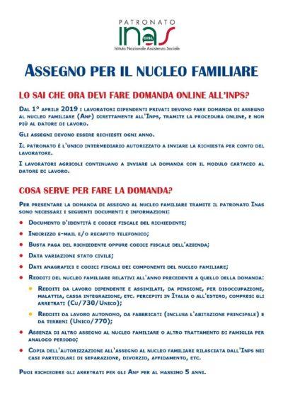 Volantino Assegno Nucleo Familiare pag. 1