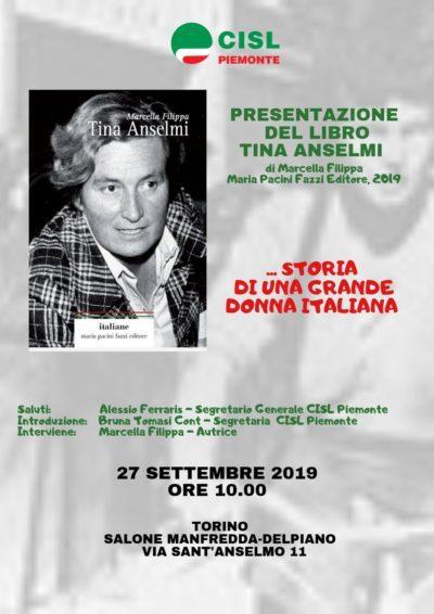 Locandina presentazione libro 27 settembre 2019 Tina Anselmi