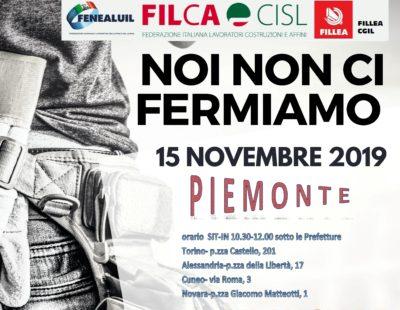 Edili: sindacati in 4 piazze del Piemonte il 15 novembre per il rilancio del settore