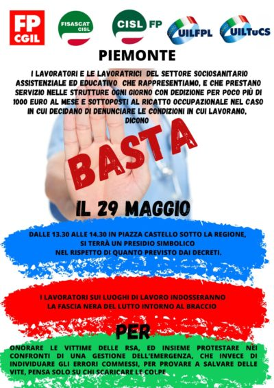 """I lavoratori del settore sociosanitario assistenziale in presidio venerdì 29 a Torino e Settimo per dire """"basta!"""""""