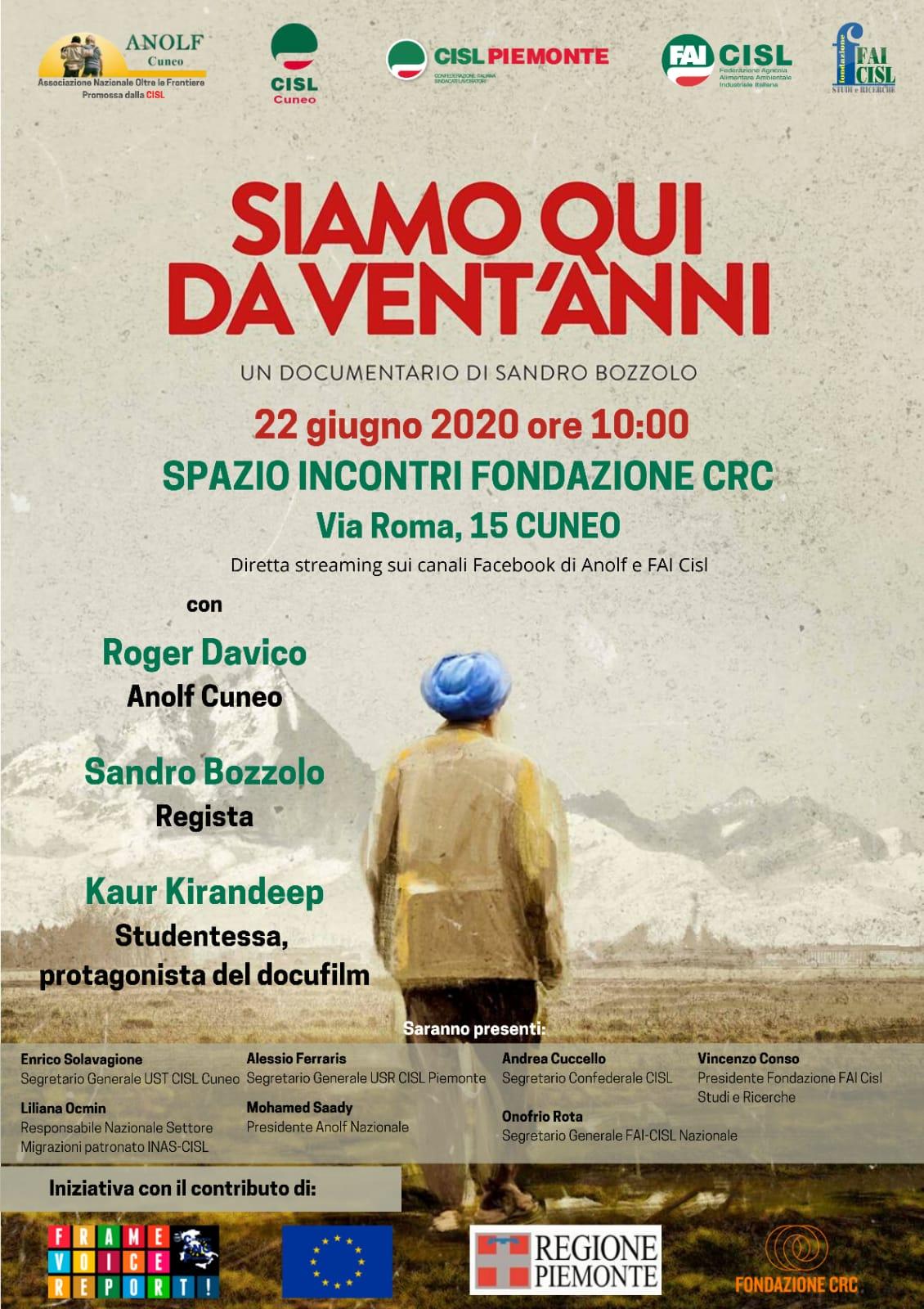 Locandina evento su immigrazione a Cuneo