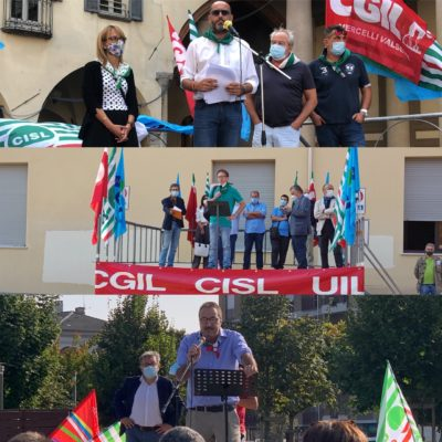 Novara, Alessandria, Cuneo: le piazze piemontesi della mobilitazione #Ripartiredallavoro di Cgil Cisl Uil