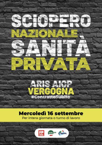 Sciopero Sanità privata il 16 settembre: manifestazione regionale a Torino dalle ore 10 alle ore 12.30